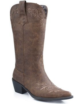 Roper Embroidered Faux Leather Cowgirl Boots - Pointed Toe, Brown, hi-res