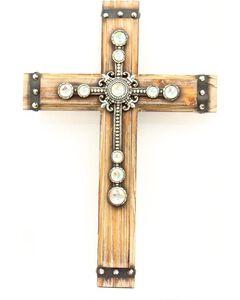 Wooden Rhinestone Embellished Wall Cross, , hi-res