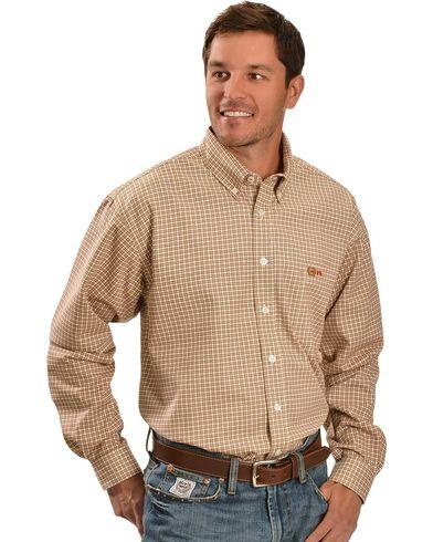 Cinch Flame Resistant Brown Plaid Work Shirt Sheplers