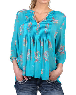Shyanne Women's Sheer Bell Sleeve Peasant Blouse, Turquoise, hi-res