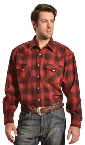 Pendleton Turquoise and Grey Plaid Snap Front Western Canyon Shirt, Red, hi-res