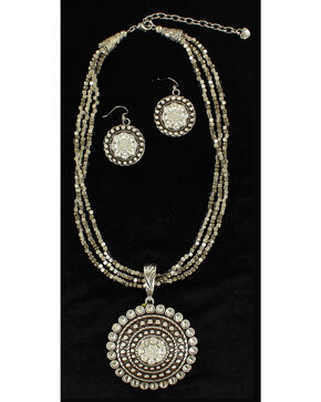 Blazin Roxx Multi-strand Round Pendant Necklace & Earrings Set, Silver, hi-res