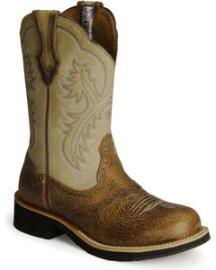 Ariat Showbaby Distressed Cowgirl Boots - Round Toe, Earth, hi-res