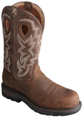 Twisted X Oiled Distressed Waterproof Lite Cowboy Work Boots - Soft Round Toe , Distressed, hi-res