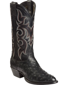 Nocona Full Quill Ostrich Cowboy Boots - Medium Toe, Black, hi-res