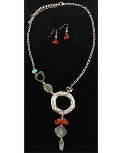 Blazin Roxx Hammered Metal Statement Necklace & Earrings Set, , hi-res