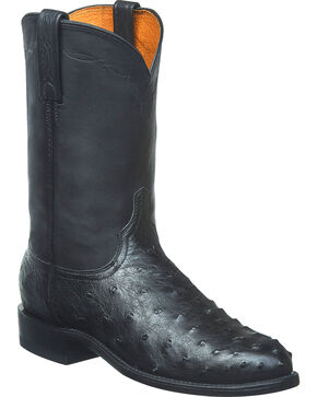 Lucchese Men's Zane Full Quill Ostrich Roper Boots - Round Toe, Black, hi-res