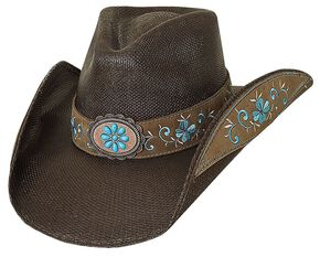 Bullhide Forever Young Bangora Straw Cowgirl Hat, Chocolate, hi-res