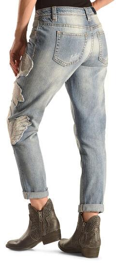 Miss Me Women's Blue Jasmine Boyfriend Ankle Cuff Jeans , , hi-res