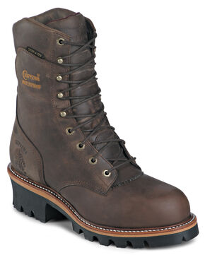 "Chippewa Insulated Waterproof Super 9"" Logger Boots - Round Toe, Bay Apache, hi-res"