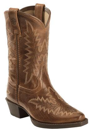 Ariat Girls' Tan Brooklyn Cowgirl Boots - Snip Toe , Tan, hi-res