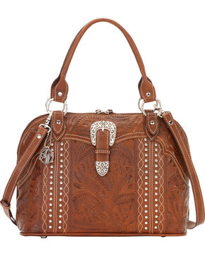 American West Twisted Trail Zip-Around Satchel, Antique Brown, hi-res
