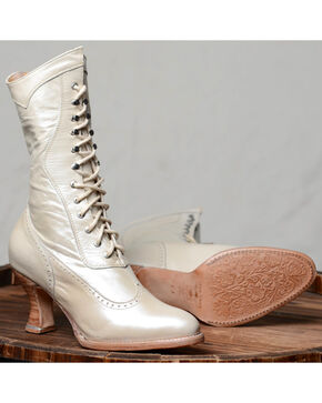 Oak Tree Farms Ivory Jasmine Pearl Boots - Medium Toe, Ivory, hi-res