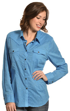 New Direction Sport Women's Blue Swiss Dot Long Sleeve Western Shirt , , hi-res