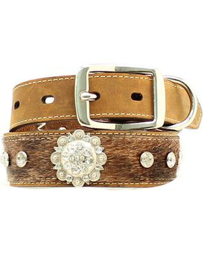 Blazin Roxx Hair-on-Hide Rhinestone & Concho Dog Collar - XS-XL, Brown, hi-res