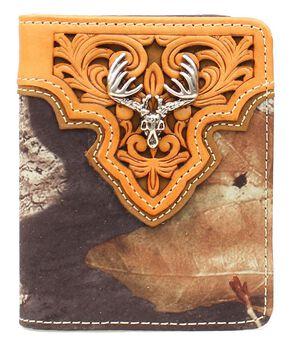 Nocona Camo Deer Skull Concho Bi-fold Wallet, Mossy Oak, hi-res