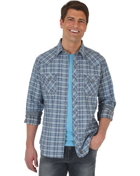 Wrangler Retro Men's Plaid with Overprint Premium Long Sleeve Snap Shirt - Big & Tall, Blue, hi-res