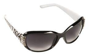 Blazin Roxx Rhinestone Embellished Zebra Print Sunglasses, Zebra, hi-res