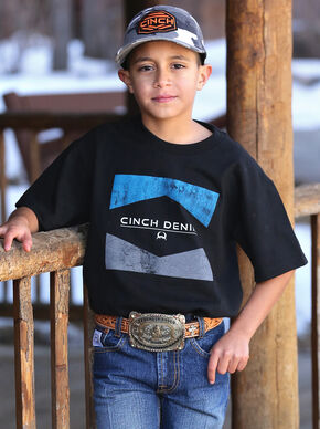 Cinch Boys' Black and Blue Logo T-Shirt  , Black, hi-res