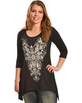 Liberty Wear Women's Stargazer Lace Sharktail Shirt, Black, hi-res