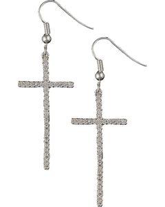 Montana Silversmiths Bling Cross Earrings, , hi-res