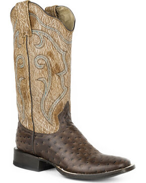 Roper Women's Brown Faux Ostrich Western Boots - Square Toe , Brown, hi-res