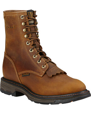 "Ariat Men's Workhog 8"" Lace-Up Work Boots - Composite Toe, Aged Bark, hi-res"