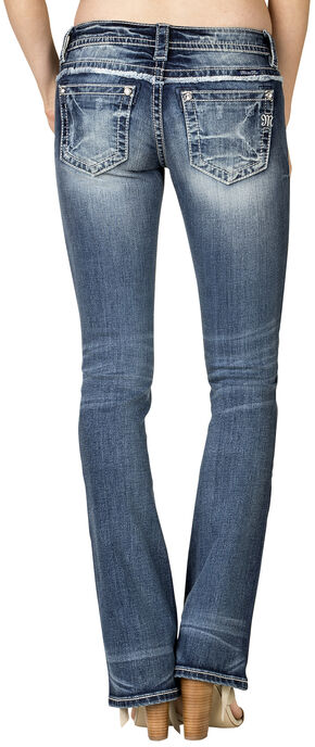 Miss Me Women's Embroidered Slim Bootcut Jeans  , Blue, hi-res