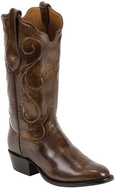 Tony Lama Brown Brushed Signature Series Goat Western Boots - Square Toe , Brown, hi-res
