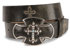Justin Bent Rail Distressed Leather Western Belt, , hi-res