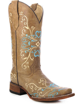 Circle G Embroidered Heart Cowgirl Boots - Square Toe, Tan, hi-res