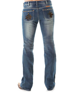 Cowgirl Tuff Women's Truly Blessed Boot Cut Jeans, Indigo, hi-res