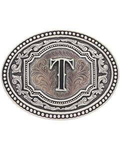 "Montana Silversmiths Men's Initial ""T"" Two-Tone Attitude Belt Buckle, , hi-res"