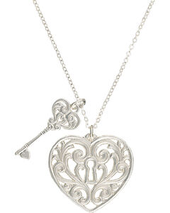 "Montana Silversmiths ""Holding the Key to My Heart"" Double Charm Necklace, , hi-res"