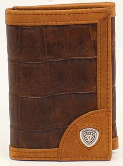 Ariat Croc Shield Concho Tri-Fold Wallet, , hi-res