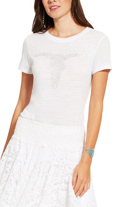 Ariat Women's White Short Sleeve Gem Skull Tee, White, hi-res