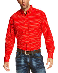 Ariat Men's Red Rowland Long Sleeve Print Shirt , Red, hi-res