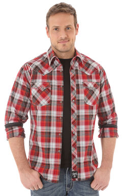 Wrangler Rock 47 Men's Red Plaid Shirt, Red, hi-res