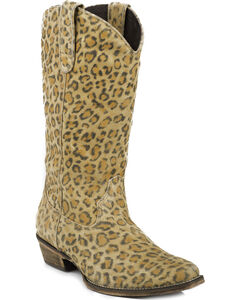 Roper Sanded Suede Leopard Print Cowgirl Boots - Square Toe, , hi-res