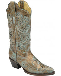 Corral Women's Turquoise Glitter Inlay Cowgirl Boots - Snip Toe, , hi-res
