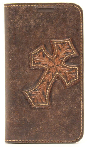 Nocona Leather Diagonal Cross Galaxy S4 Case Wallet, Brown, hi-res