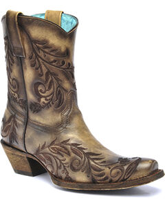 Corral Vintage Brown Burnished Embroidered Side Short Cowgirl Boots - Square Toe , , hi-res