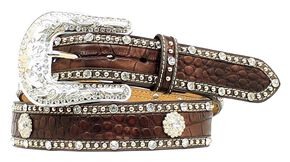 Nocona Croc Print Studded Concho Leather Belt, Brown, hi-res