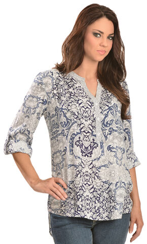 Red Ranch Women's Navy Floral Print Top, Blue, hi-res
