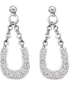 Montana Silversmiths Women's Crystal Clear Lucky Horseshoe Earrings , , hi-res