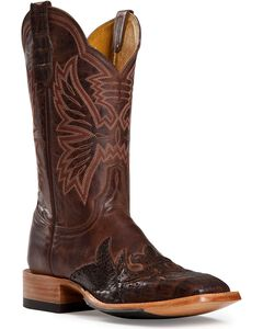 Cinch Classic Caiman Wingtip Cowboy Boots - Square Toe, Antique Brown, hi-res
