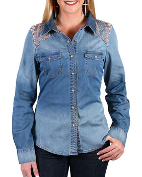 Shyanne Women's Embroidered Chambray Shirt , Blue, hi-res
