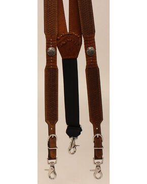Nocona Leather Galluses with Buffalo Nickel Conchos, Med Brown, hi-res