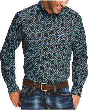 Ariat Men's Brown Pickford Print Long Sleeve Shirt , Brown, hi-res
