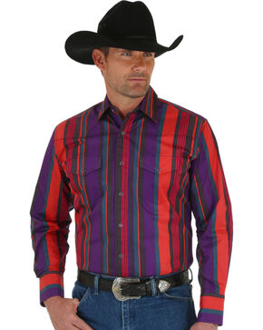 Wrangler Men's Brushpopper Red & Purple Stripe Shirt, Rust, hi-res